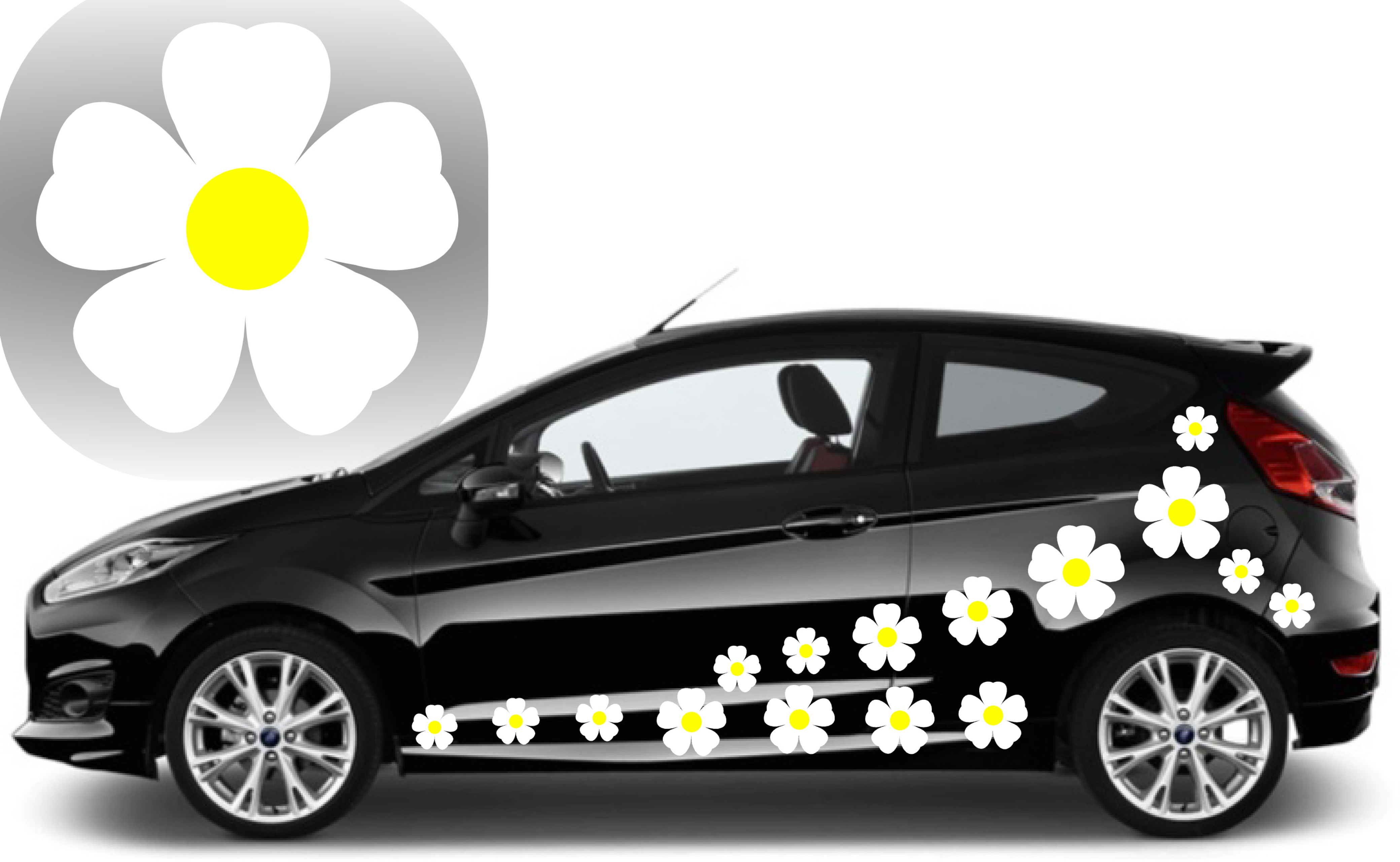 32 white flower graphic car decal stickers
