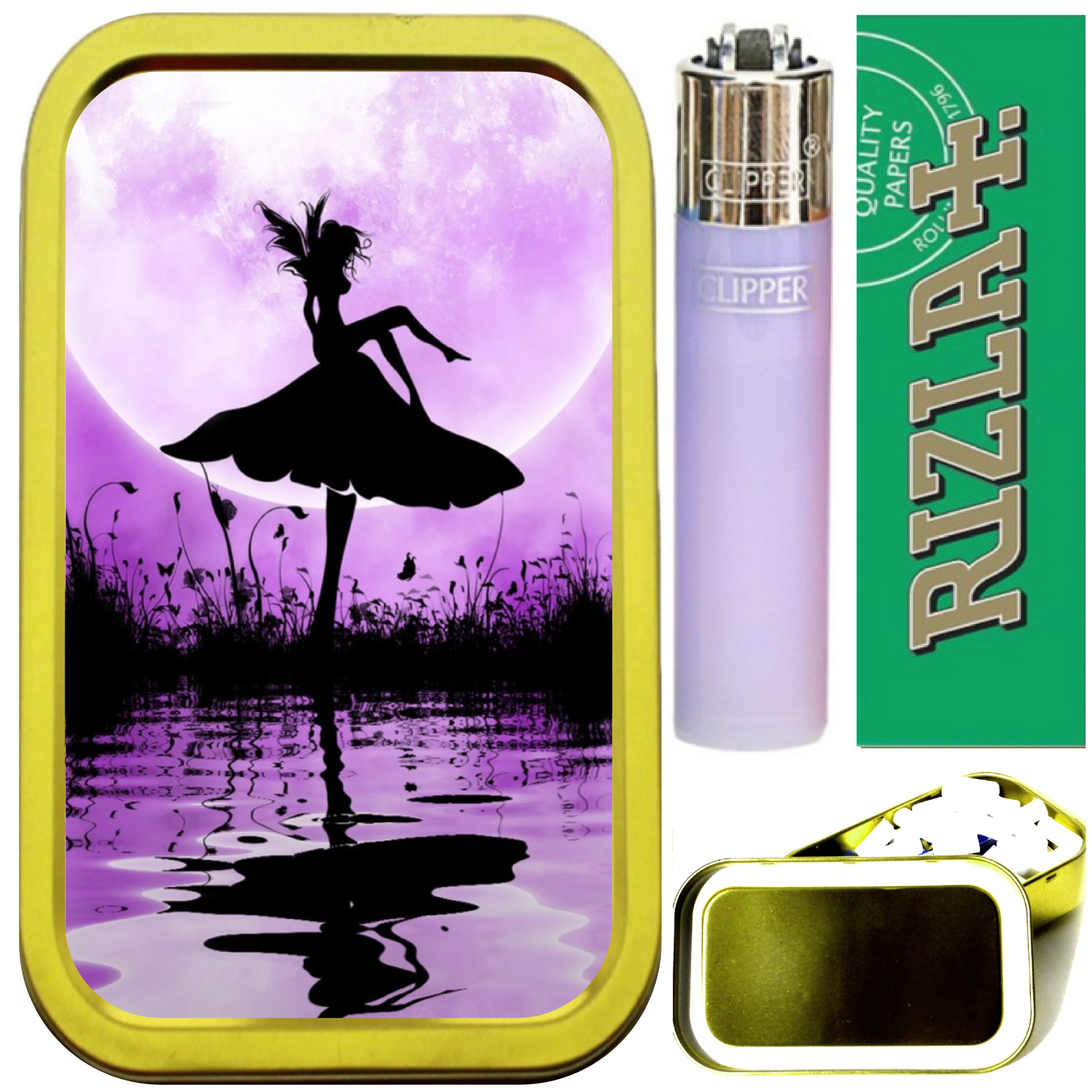 GOLD 1oz TOBACCO TIN,LIGHTER PURPLE OWL SMOKING SET PAPERS /& FILTERS
